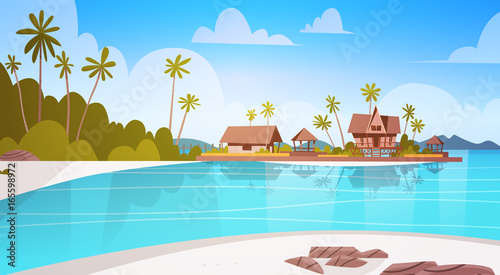 Foto op Plexiglas Turkoois Sea Shore Beach With Villa Hotel Beautiful Seaside Landscape Summer Vacation Concept Flat Vector Illustration