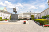 The Presidential Palace of Poland in Warsaw. In front of the building stands the statue of Prince Jozef Poniatowski. - 165599763
