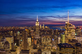 USA, New York, New York City. Panoramic view over Manhattan with skyscrapers at sunset