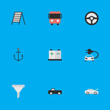 Vector Illustration Set Of Simple Shipping Icons. Elements Accumulator, Automobile, Steering And Other Synonyms Car, Battery And Anchor.