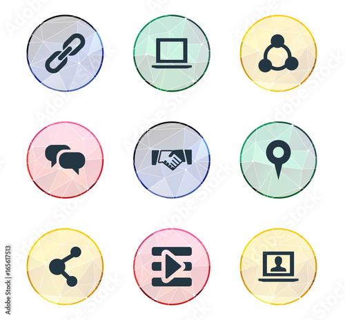 Vector Illustration Set Of Simple Media Icons Elements Publish