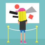Visitor in a modern art gallery / flat editable vector illustration, clip art