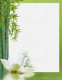 papier quadrillé, bordure lotus et bambou