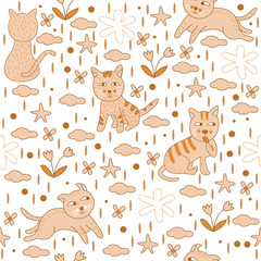 Seamless Pattern Beige Cats Vector Wallpaper Background