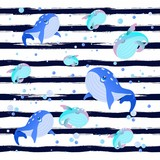 Beautiful hand drawn vector illustration with whales and jellyfish and shells.