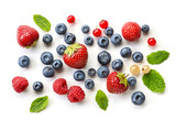 various fresh berries on white background - 165641578