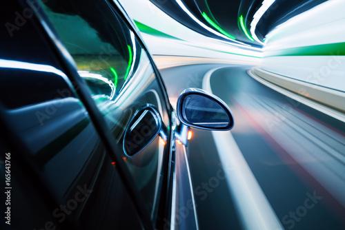 Night, high-speed car
