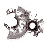 Abstract fantastic mechanism on white background. Digital fractal art. 3D rendering.