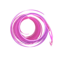Abstract swirling pink shapes on white background. Fantasy fractal design. 3D rendering.