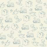 seamless pattern with retro toys
