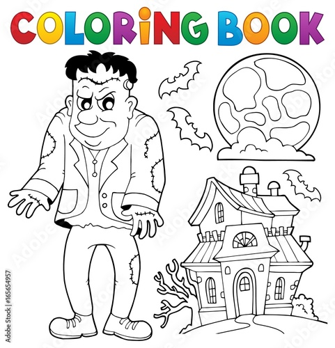 Tuinposter Voor kinderen Coloring book Frankenstein theme
