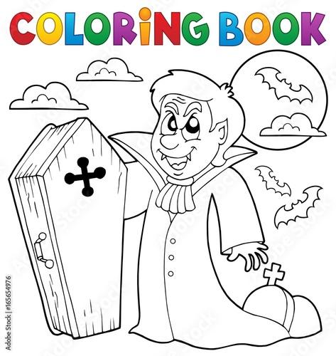 Tuinposter Voor kinderen Coloring book vampire theme 4