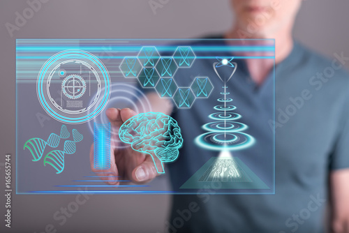 Man touching a futuristic technologies concept on a touch screen