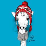 Plakat z wizerunkiem żyrafy w zimie w kapeluszu z nausznikami i szaliku