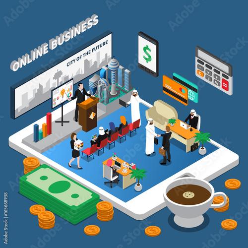 Arab People Online Business Isometric Illustration
