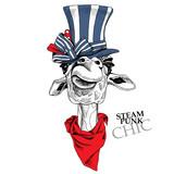 Portret żyrafa w steampunk kapeluszu i w chustce