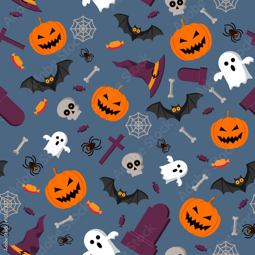 Cotton fabric Halloween pattern seamless vector background