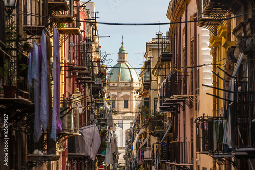 Deurstickers Palermo View at the church of San Matteo located in heart of Palermo, Italy, Europe. Traditional Italian medieval city center with typical narrow residential street.