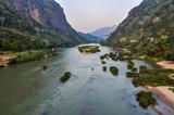 View of Nam Ou River in Nong Khiaw, Laos
