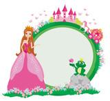 Piękna młoda księżniczka i duża żaba-ramki