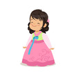 Little girl wearing pink dress, national costume of Korea colorful character vector Illustration - 165692126