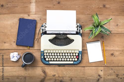 Poster top view retro typewriter writers desk