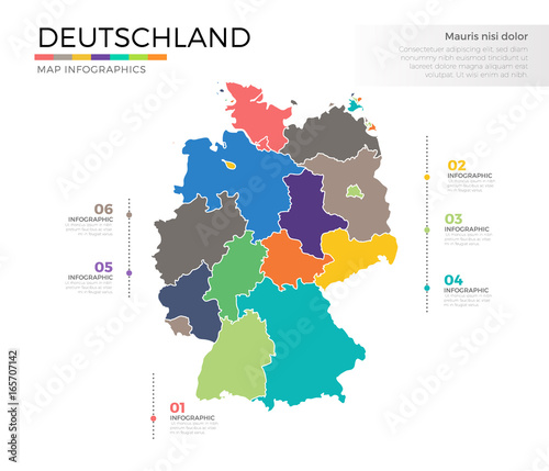 Deutschland country map infographic colored vector template with ...