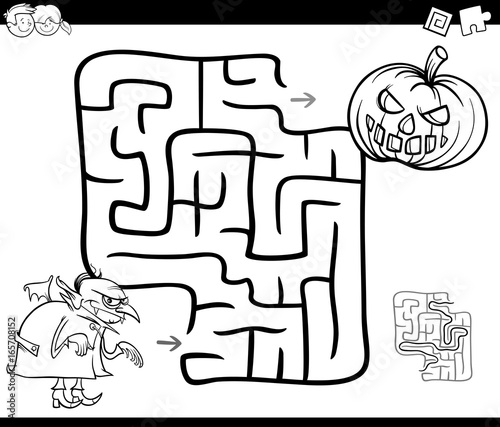 halloween maze activity for coloring