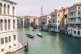 Gondola and Modern boat on Canal grande of Venezia, Venice