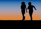 Children playing racing at sunset , poster and background.