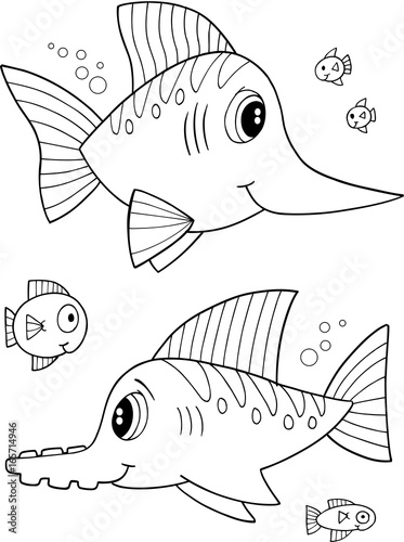 Cute Fish Vector Illustration Coloring Page Art