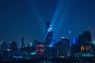 Bangkok night view with skyscraper