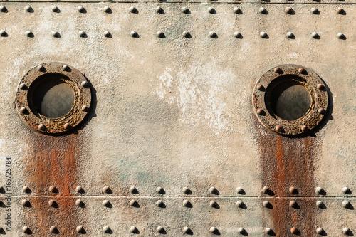 Fotobehang Schip Ship Portholes Steel Riveted Plates