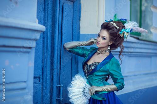 Plakat Beautiful caucasian girl dressed in rococo style