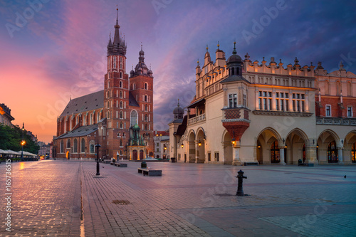 Aluminium Krakau Krakow. Image of old town Krakow, Poland during sunrise.