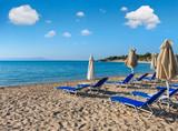 Summer morning beach (Chalkidiki, Greece). - 165737780