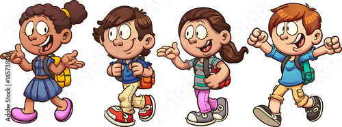 Kids walking and talking back to school. Vector clip art illustration with simple gradients.