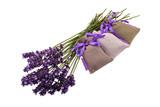 Lavender flowers and linen sachets