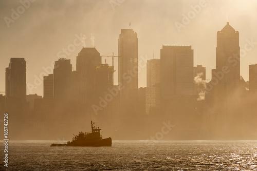 Tug Boat on Elliott Bay on a Foggy Morning Poster