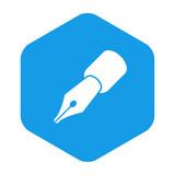 Icono plano pluma en hexagono azul