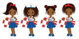 Vector Nautical Little African American Girls with Various Hair Colors