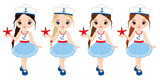 Vector Nautical Little Girls with Various Hair Colors