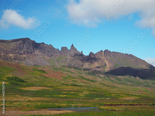 sharp eroded peaks of Iceland mountains