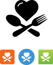 Heart  Fork And Spoon Icon  Illustration Sticker