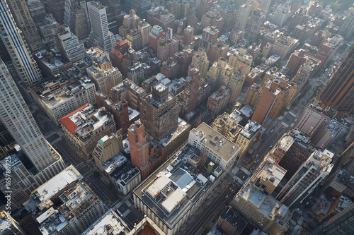 Foto op Plexiglas New York TAXI New York City Manhattan aerial view with buildings and fifth avenue