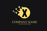 X Letter Logo Design with Yellow Dots