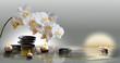 Leinwanddruck Bild - Wandbild mit Orchideen, Steinen im Wasser und schwimmenden Kerzen