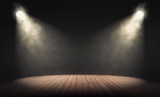 Spotlights illuminate empty stage with dark background. 3d rendering - 165796723