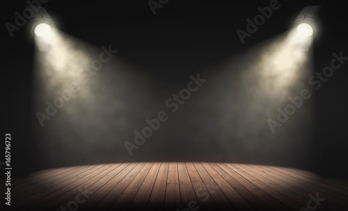 Spotlights illuminate empty stage with dark background. 3d rendering
