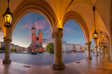 Krakow. Image of Krakow Market square, Poland during sunrise.
